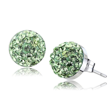 TK3548 - High polished (no plating) Stainless Steel Earrings with Top Grade Crystal  in Peridot