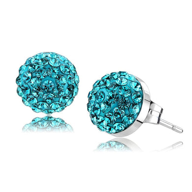 TK3549 - High polished (no plating) Stainless Steel Earrings with Top Grade Crystal  in Blue Zircon