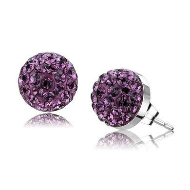 TK3552 - High polished (no plating) Stainless Steel Earrings with Top Grade Crystal  in Amethyst