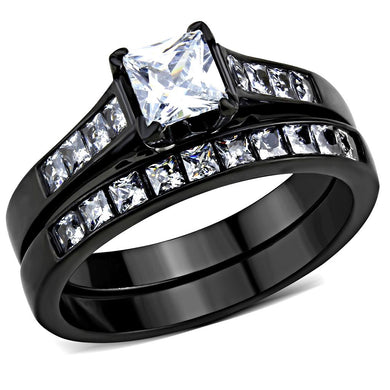 TK3555 - IP Black(Ion Plating) Stainless Steel Ring with AAA Grade CZ  in Clear