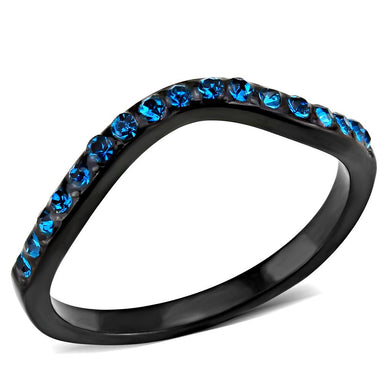 TK3557 - IP Black(Ion Plating) Stainless Steel Ring with Top Grade Crystal  in Blue Zircon