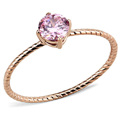 TK3558 - IP Rose Gold(Ion Plating) Stainless Steel Ring with AAA Grade CZ  in Rose