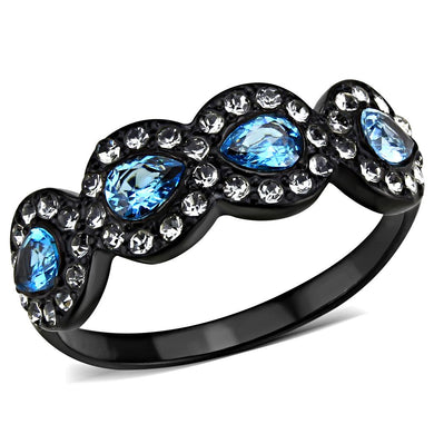 TK3559 - IP Black(Ion Plating) Stainless Steel Ring with AAA Grade CZ  in Sea Blue