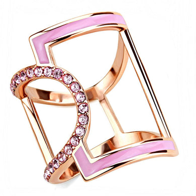 TK3561 - IP Rose Gold(Ion Plating) Stainless Steel Ring with Top Grade Crystal  in Light Rose