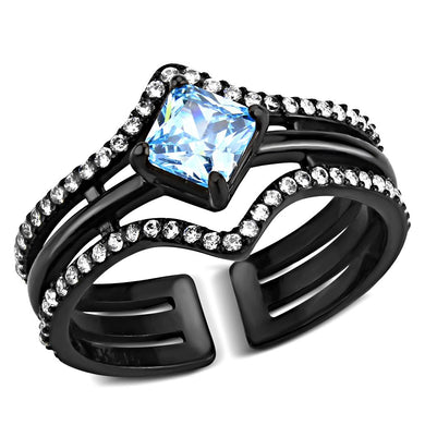 TK3562 - IP Black(Ion Plating) Stainless Steel Ring with AAA Grade CZ  in Sea Blue