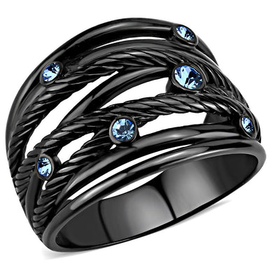 TK3564 - IP Black(Ion Plating) Stainless Steel Ring with Top Grade Crystal  in Sea Blue