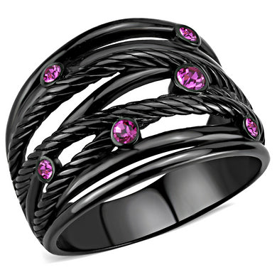 TK3565 - IP Black(Ion Plating) Stainless Steel Ring with Top Grade Crystal  in Fuchsia