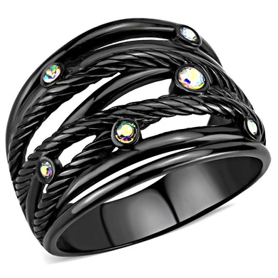 TK3566 - IP Black(Ion Plating) Stainless Steel Ring with Top Grade Crystal  in Aurora Borealis (Rainbow Effect)