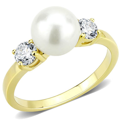 TK3567 - IP Gold(Ion Plating) Stainless Steel Ring with Synthetic Pearl in White
