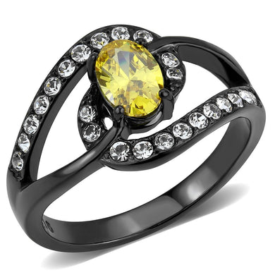 TK3571 - IP Black(Ion Plating) Stainless Steel Ring with AAA Grade CZ  in Topaz