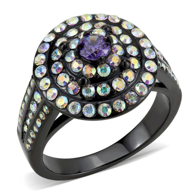 TK3580 - IP Black(Ion Plating) Stainless Steel Ring with Assorted  in Multi Color