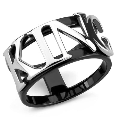 TK3583 - Two-Tone IP Black (Ion Plating) Stainless Steel Ring with No Stone
