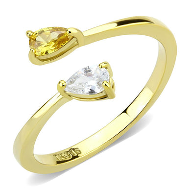 TK3586 - IP Gold(Ion Plating) Stainless Steel Ring with AAA Grade CZ  in Topaz