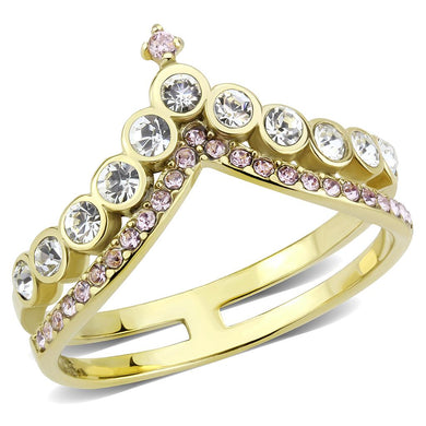 TK3587 - IP Gold(Ion Plating) Stainless Steel Ring with AAA Grade CZ  in Rose