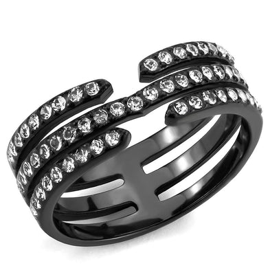 TK3594 - IP Black(Ion Plating) Stainless Steel Ring with Top Grade Crystal  in Clear