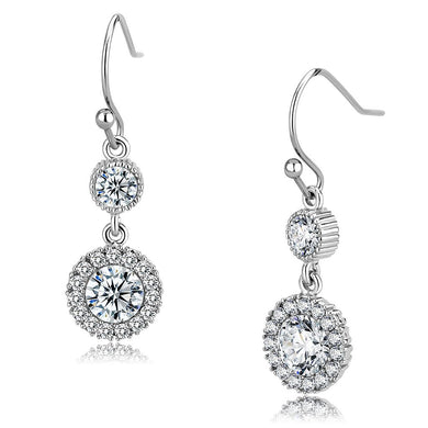 TK3602 - High polished (no plating) Stainless Steel Earrings with AAA Grade CZ  in Clear