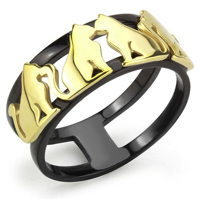 TK3609 - IP Gold+ IP Black (Ion Plating) Stainless Steel Ring with No Stone