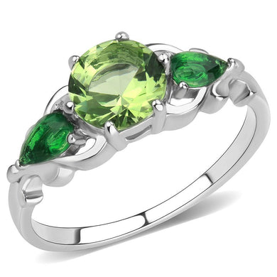 TK3610 - No Plating Stainless Steel Ring with Synthetic Synthetic Glass in Peridot