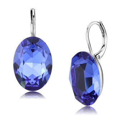 TK3614 - No Plating Stainless Steel Earrings with Top Grade Crystal  in Sapphire
