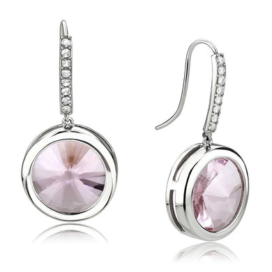 TK3643 - High polished (no plating) Stainless Steel Earrings with Top Grade Crystal  in Light Rose