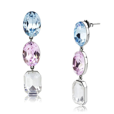 TK3644 - High polished (no plating) Stainless Steel Earrings with Top Grade Crystal  in Multi Color