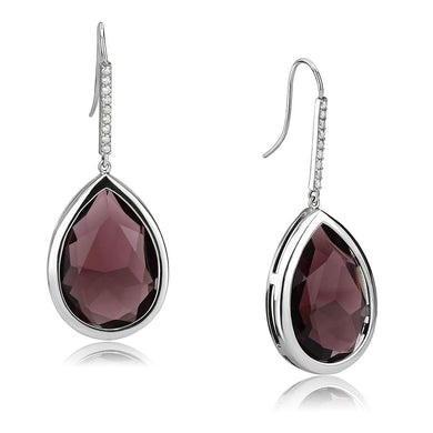 TK3647 - High polished (no plating) Stainless Steel Earrings with Top Grade Crystal  in Amethyst