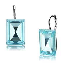Load image into Gallery viewer, TK3649 - High polished (no plating) Stainless Steel Earrings with Top Grade Crystal  in Sea Blue
