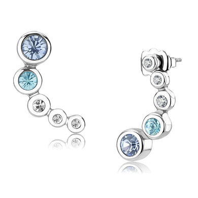 TK3652 - High polished (no plating) Stainless Steel Earrings with Top Grade Crystal  in Light Sapphire