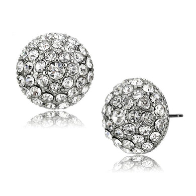 TK3655 - High polished (no plating) Stainless Steel Earrings with Top Grade Crystal  in Clear