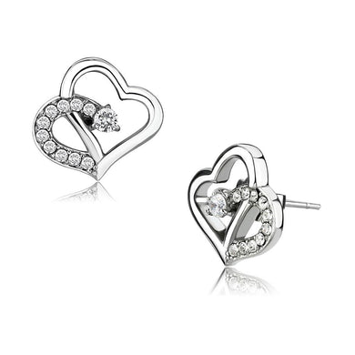 TK3656 - High polished (no plating) Stainless Steel Earrings with AAA Grade CZ  in Clear