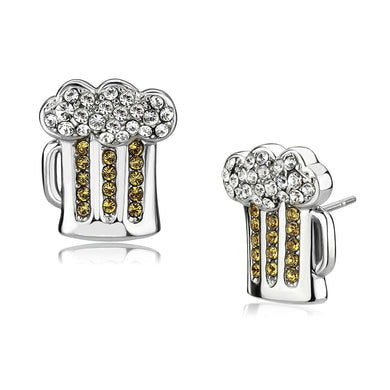 TK3658 - High polished (no plating) Stainless Steel Earrings with Top Grade Crystal  in Topaz