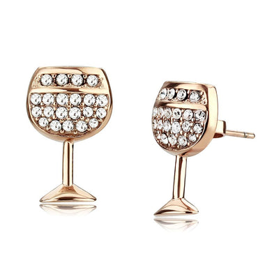 TK3659 - IP Rose Gold(Ion Plating) Stainless Steel Earrings with Top Grade Crystal  in Clear