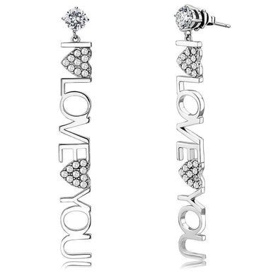 TK3665 - High polished (no plating) Stainless Steel Earrings with AAA Grade CZ  in Clear