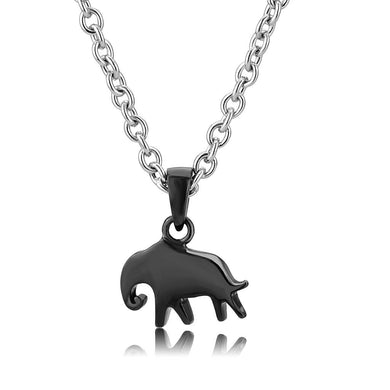 TK3666 - Two-Tone IP Black (Ion Plating) Stainless Steel Chain Pendant with No Stone