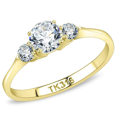 TK3668 - IP Gold(Ion Plating) Stainless Steel Ring with AAA Grade CZ  in Clear