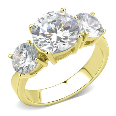 TK3672 - IP Gold(Ion Plating) Stainless Steel Ring with AAA Grade CZ  in Clear