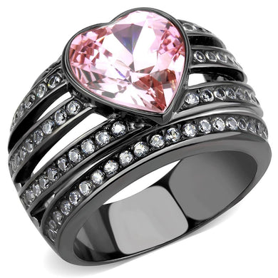 TK3686 - IP Black(Ion Plating) Stainless Steel Ring with Top Grade Crystal  in Light Rose