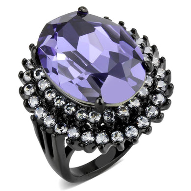 TK3687 - IP Black(Ion Plating) Stainless Steel Ring with Top Grade Crystal  in Tanzanite