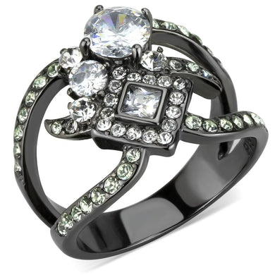 TK3690 - IP Light Black  (IP Gun) Stainless Steel Ring with AAA Grade CZ  in Clear