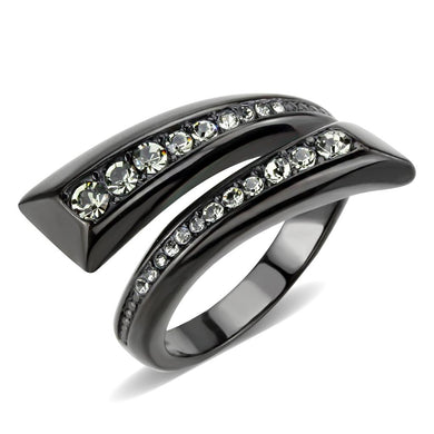 TK3692 - IP Black(Ion Plating) Stainless Steel Ring with Top Grade Crystal  in Black Diamond
