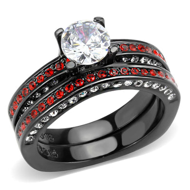 TK3695 - IP Black(Ion Plating) Stainless Steel Ring with AAA Grade CZ  in Clear