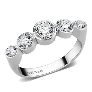TK3697 - High polished (no plating) Stainless Steel Ring with AAA Grade CZ  in Clear