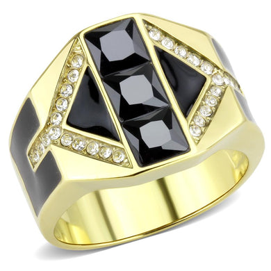 TK3721 - IP Gold(Ion Plating) Stainless Steel Ring with AAA Grade CZ  in Black Diamond