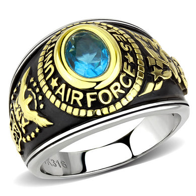 TK3725 - Two-Tone IP Gold (Ion Plating) Stainless Steel Ring with Synthetic Synthetic Glass in Sea Blue