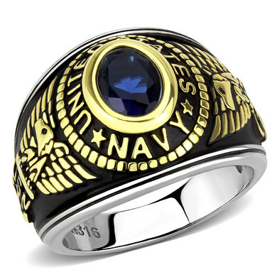 TK3726 - Two-Tone IP Gold (Ion Plating) Stainless Steel Ring with Synthetic Synthetic Glass in Montana