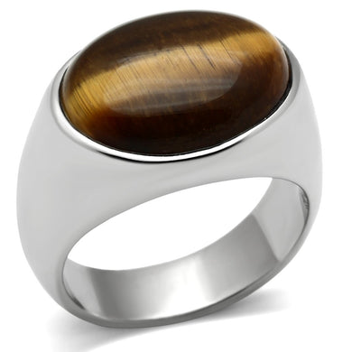 TK378 - High polished (no plating) Stainless Steel Ring with Semi-Precious Tiger Eye in Topaz