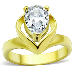 TK389G - IP Gold(Ion Plating) Stainless Steel Ring with AAA Grade CZ  in Clear