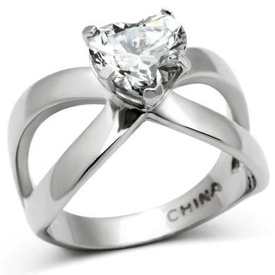 TK390 - High polished (no plating) Stainless Steel Ring with AAA Grade CZ  in Clear