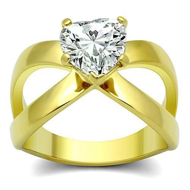 TK390G - IP Gold(Ion Plating) Stainless Steel Ring with AAA Grade CZ  in Clear