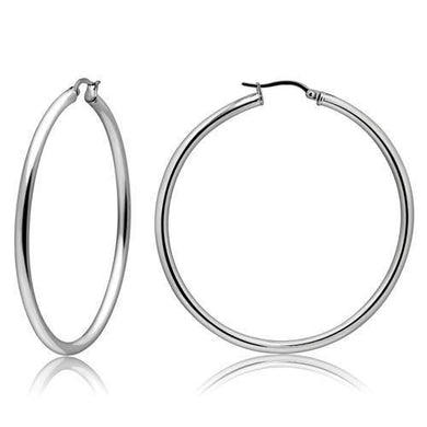 TK413 - High polished (no plating) Stainless Steel Earrings with No Stone